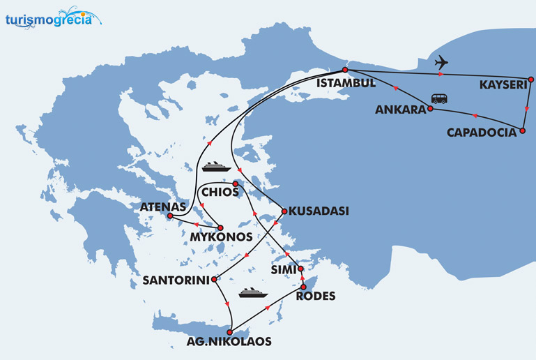 ilhas gregas mapa Turquia e Ilhas Gregas: Programa de férias Istambul, Kayseri  ilhas gregas mapa