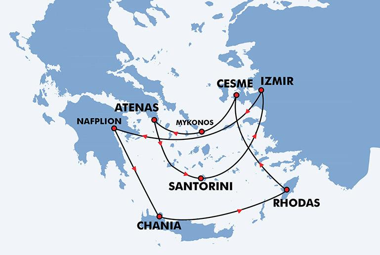 ilhas gregas mapa Viagem ás Ilhas Gregas   Programa de Viagem Atenas, Santorini  ilhas gregas mapa